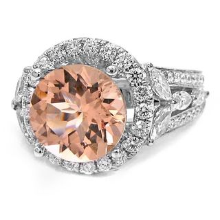 Noori 18k White Gold Morganite 1 3/4ct TDW Diamond Engagement Ring (G-H, SI1-SI2)