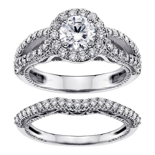 Platinum 2 1/4ct TDW Halo Brilliant-cut Diamond Engagement Bridal Set