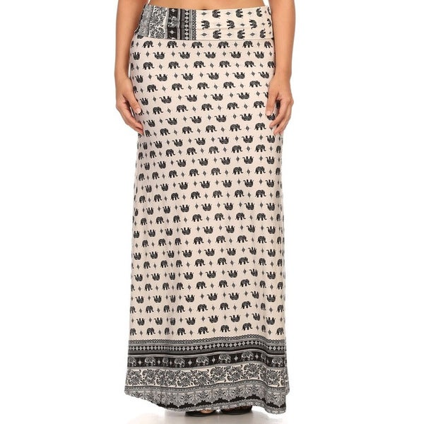 MOA Collection Plus Size Elephant Maxi Skirt