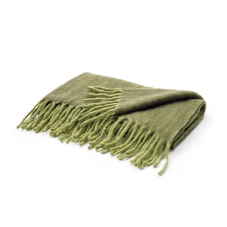 Hip Vintage Two Tone Green Mohair Throw