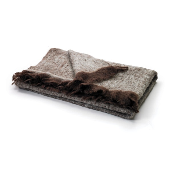 Hip Vintage Brown & Beige Mohair Throw