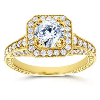 Annello 14k Yellow Gold 1 3/5ct TDW Round Diamond Milgrain Halo Vintage Style Engagement Ring (H-I, I1-I2)