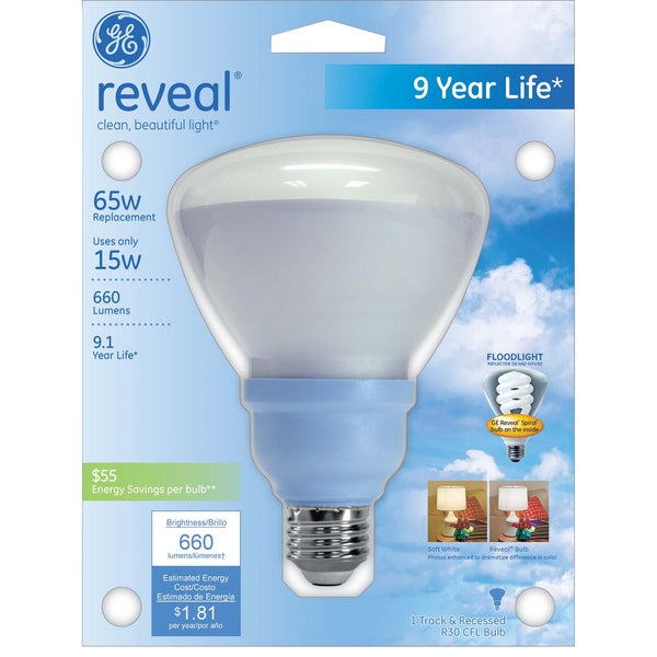 GE Lighting 61164 15 Watt Reveal R30 Indoor CFL Bulb
