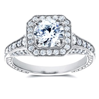 Annello 14k White Gold 1 3/5ct TDW Round Diamond Milgrain Halo Vintage Style Engagement Ring (H-I, I1-I2)