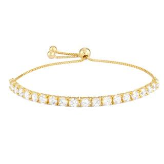 Gioelli Gold over Silver Cubic Zirconia Adjustable Bracelet