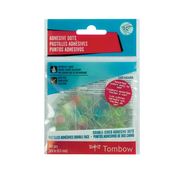 Tombow Adhesive Dots Assorted Colors 100-Pieces