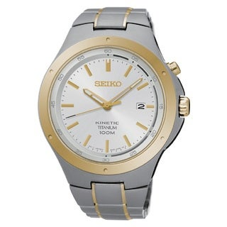 Seiko Men's SKA730 Titanium Kinetic Watch with a White Dial and 6 a Month Power Reserve