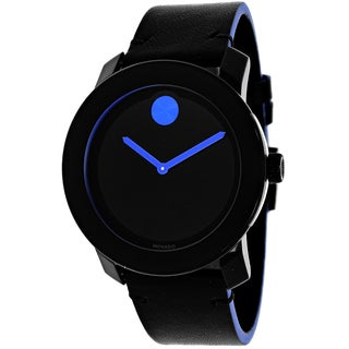 Movado Women's 3600350 Bold Round Black Leather Strap Watch