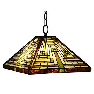 Erica 1-light Mission-style 15-inch Tiffany-style Ceiling Lamp
