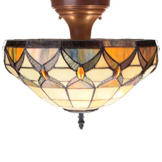 Axcel 2-light Off-white 12-inch Tiffany-style Ceiling Lamp