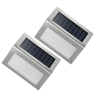 Auto Turn-on Outdoor Stainless Steel Solar LED Lights (Set of 2)