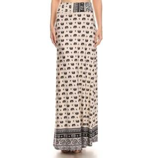 MOA Collection Women's Elephant Print Maxi Skirt