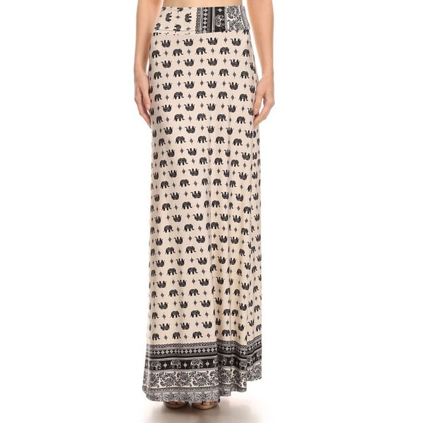 MOA Collection Women's Elephant Print Maxi Skirt