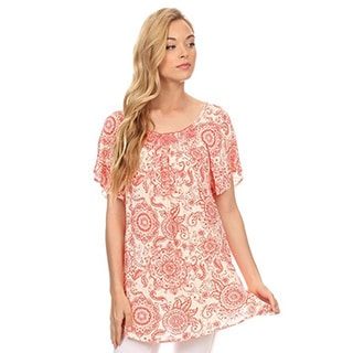 MOA Collection Women's Floral Short Sleeve Top
