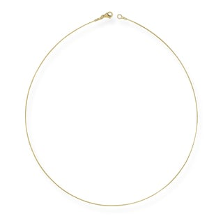 "14k Yellow Gold 0.5mm Twist Cable Wire Chain Necklace (16""-18"")"