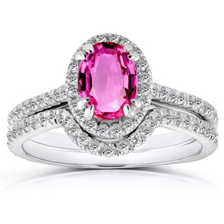 Annello 14k White Gold Oval Pink Sapphire and 1/2ct TDW Halo Diamond Bridal Rings 2 Piece Set (G-H, I1-I2)