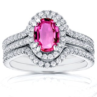 Annello 14k White Gold Oval Pink Sapphire and 3/4ct TDW Halo Diamond Bridal Rings 3 Piece Set (G-H, I1-I2)