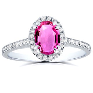 Annello 14k White Gold Oval Pink Sapphire and 1/3ct TDW Halo Diamond Ring (G-H, I1-I2)