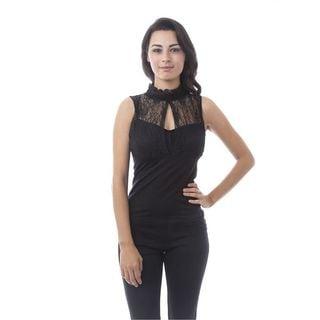 Soho Women One Size Mock Neck Lace Sleeveless Top