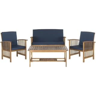 Safavieh Outerbanks Teak Brown / Navy 4-Piece Outdoor Set