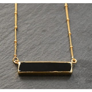 Mint Jules 24k Gold Overlay Agate Horizontal Bar Necklace