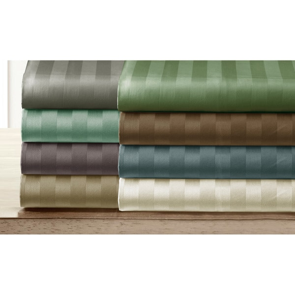 Luxury Pima Cotton 300 Thread Damask Stripe Count Sheet Set