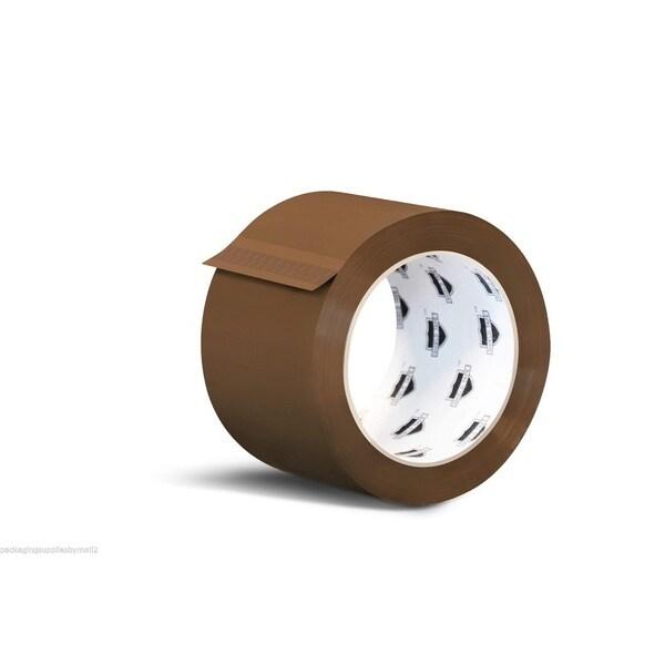 Hotmelt Tan Box Packing Tape 3-inch x 110 Yards 2.5 Mil 144 Rolls (6 Cases) 18052824