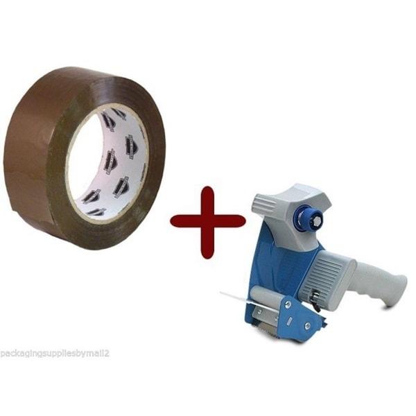Tan Hotmelt Tape 3-inch x 110 Yards 12 Rolls 2.5 Mil + Free 3-inch Tape Gun Dispenser 18052846