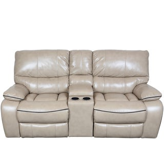 Porter Alameda Cream Vegan Leatherlike Dual Reclining Console Loveseat with Contrast Welt