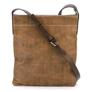 Salvatore Ferragamo Taupe Gancio Print Cross-body Bag