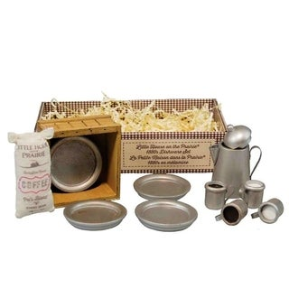 The Queen's Treasures Officially Licensed Little House on the Prairie Dishware Set: 4 Dishes 4 Cups Coffee Pot Sack and Crate