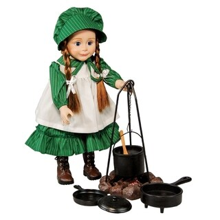 The Queen's Treasures Officially Licensed Little House on the Prairie Cooking set. (fire ring Caldron Tripod 2 pans)