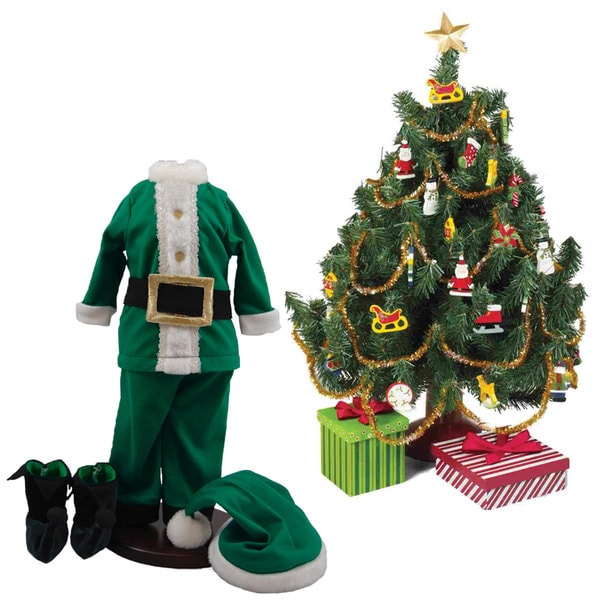 """The Queen's Treasures Night Before Christmas Costume Pajama Doll Clothing Outfit & Christmas Tree Set, for 18"""" Girl Dolls"""