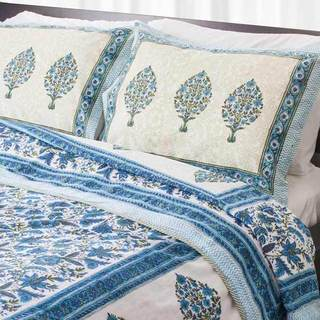 Dreams in India Blue and Teal Tree King-sized Cotton Coverlet Set (India)