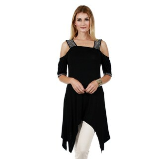 Firmiana Women's 3/4 Cold Shoulder Sleeve Side Tail Tunic