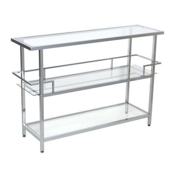 Offex Home Restaurant Chrome Portico Clear Glass Bar Table