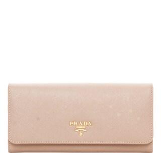 Prada Saffiano Metallic Gold Leather Flap Wallet