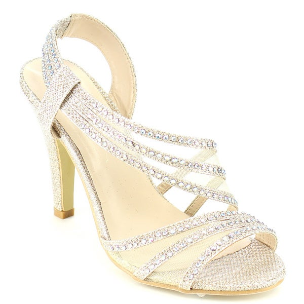 Beston FB55 Women's Strappy Mesh Glitter Prom Slingback Dress Sandals