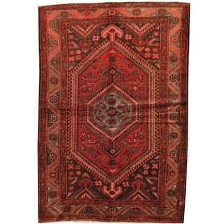 Herat Oriental Persian Hand-knotted Hamadan Red/ Gray Wool Rug (4'3 x 6'8)