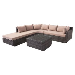 Captiva Brown Sunproof and Tempered Glass Wicker, Fabric Sectional Set