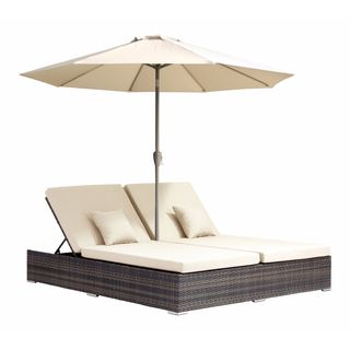 Atlantic Double Brown Sunproof Wicker and Fabric Chaise Lounge