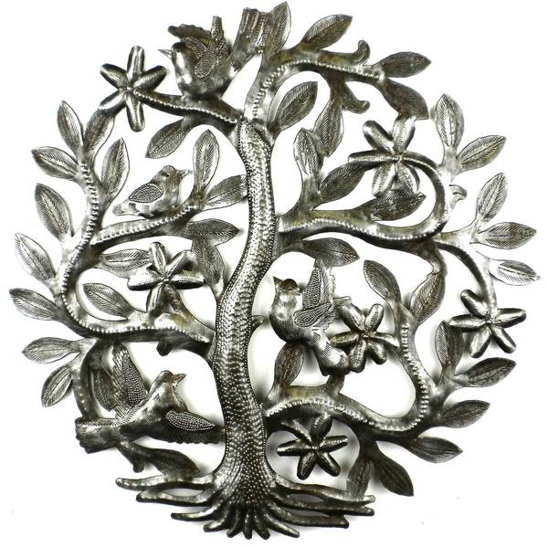 Handcrafted 14-inch Tree of Life with Birds (Haiti)