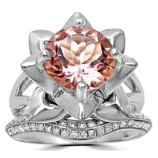 Noori 14k White Gold Morganite 2/5ct TDW Diamond Lotus Flower Engagement Bridal Set (G-H, SI1-SI2 )