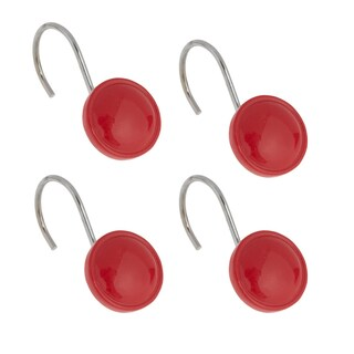 Hand Crafted Round Red Shower Curtain Hook Set (Pack of 12)