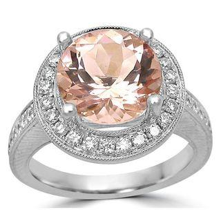 Noori 14k White Gold Morganite 1/2ct TDW Diamond Engagement Ring (G-H, SI1-SI2)