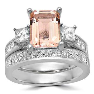 Noori 14k White Gold Morganite 2ct TDW Diamond Engagement Bridal Set (G-H, SI1-SI2)