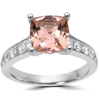 Noori 14k White Gold Morganite 5/8ct TDW Diamond Cushion-Cut Engagement Ring (G-H, SI1-SI2)