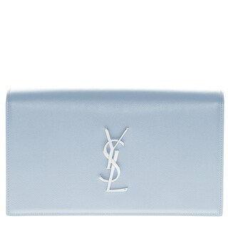 Yves Saint Laurent Monogram Grain Calfskin Clutch Bag with Silver Logo