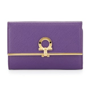 Salvatore Ferragamo Purple Leather Continental Wallet