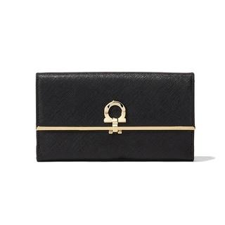 Salvatore Ferragamo Black Leather Gancio Continental Wallet